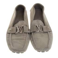 Louis Vuitton Grey Suede Damier Ebene Check Monte Crarlo Loafers Size 42
