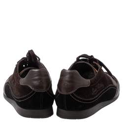 Louis Vuitton Brown Suede And Leather Low Top Sneakers Size 43.5