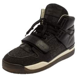 Louis Vuitton Black Leather And Mesh Trailblazer High Top Sneakers Size 41.5
