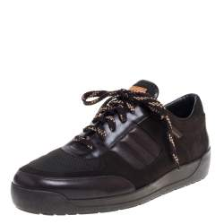 Louis Vuitton Brown Mesh Suede and Leather Low Top Sneakers Size 43.5