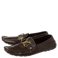 Louis Vuitton Brown Leather Monte Carlo Moccasins Size 44