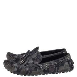 Louis Vuitton Gray Camo Suede  Slip On Loafers Size 43
