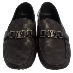 Louis Vuitton Black Leather Damier Infini Hockenheim Slip On Loafers Size 43
