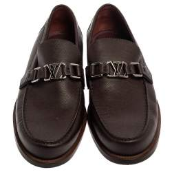 Louis Vuitton Burgundy Leather Major Slip On Loafers Size 42