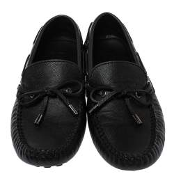 Louis Vuitton Black Leather Tassel Drivers Slip On Loafers Size 39