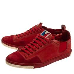 Louis Vuitton Red Suede And Leather Slalom Sneakers Size 42