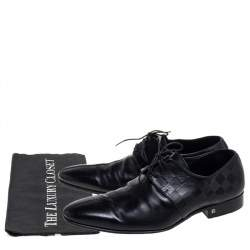 Louis Vuitton Black Damier Embossed Leather Lace Up Oxfords Size 42