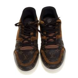 Louis Vuitton Brown Monogram Canvas And Suede Trainer Sneakers Size 42