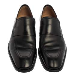 Louis Vuitton Black Leather Slip On Loafers Size 44