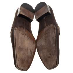 Louis Vuitton Vintage Brown Nubuck Slip On Loafers Size 44
