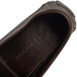 Louis Vuitton Brown Leather Slip On Loafers Size 41.5