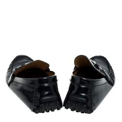 Louis Vuitton Black Patent Leather Hockenheim Loafer Size 44
