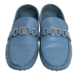 Louis Vuitton Blue Leather Hockenheim Loafers Size 43
