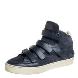 Louis Vuitton Blue Suede And Leather Velcro Straps High Top Sneakers Size 43