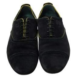 Louis Vuitton Black/Yellow Suede Lace up Oxfords Size 43.5