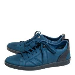 Louis Vuitton Blue/Black Nubuck And Leather Low Top Sneakers Size 43