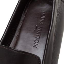 Louis Vuitton Brown Leather Monte Carlo Logo Slip On Loafers Size 45