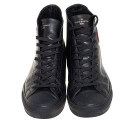 Louis Vuitton Black Leather Tattoo Trainer Boots Size 43