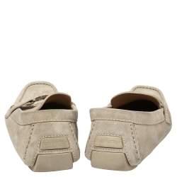 Louis Vuitton Grey Suede Monte Carlo Loafers Size 45.5