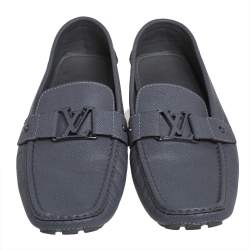 Louis Vuitton Grey Leather Monte Carlo Loafers Size 46