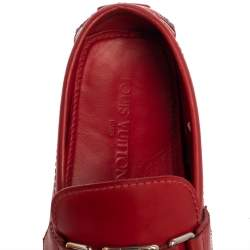 Louis Vuitton Red Leather Hockenheim Loafers Size 45