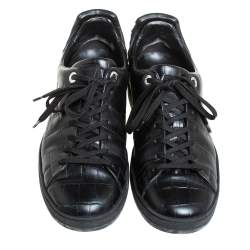 Louis Vuitton Black Croc Embossed Leather Front Row Lace Up Sneakers Size 40