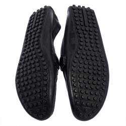 Louis Vuitton Black  Damier Embossed Leather Hockenheim Moccasin Loafers Size 40