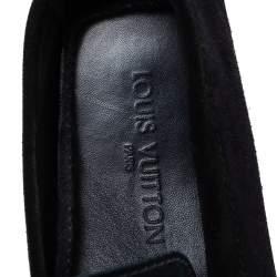 Louis Vuitton Dark Tri Color Suede Hockenheim Slip On Loafers Size 40.5