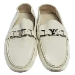 Louis Vuitton White Leather Hockenheim Logo Detail Slip on Loafer Size 42.5
