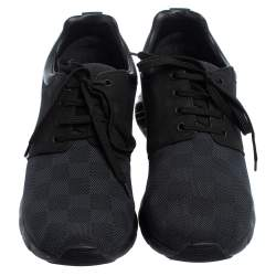 Louis Vuitton Black Damier Fabric, Nubuck  And Leather Fastlane Sneakers Size 42.5