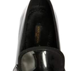 Louis Vuitton Black Patent Leather Hockenheim Slip On Loafers Size 41.5