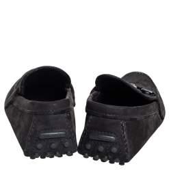 Louis Vuitton Black Nubuck Leather Hockenheim Slip On Loafers Size 41.5