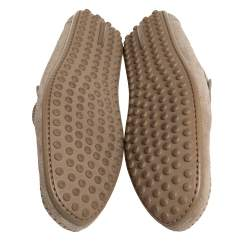 Louis Vuitton Brown Perforated Suede Slip On Loafers Size 41.5