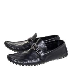Louis Vuitton Black Leather Damier Infini Hockenheim Loafers Size 41.5