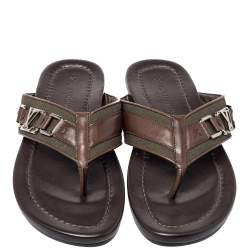 Louis Vuitton Brown Leather And Canvas Hamptons Thong Sandals Size 41.5