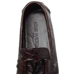 Louis Vuitton Brown Crocodile Leather Monte Carlo Slip On Loafers Size 41.5