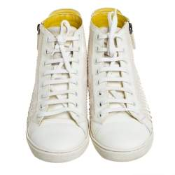 Louis Vuitton White/Grey Python And Suede Zip Up High Top Sneakers Size 40