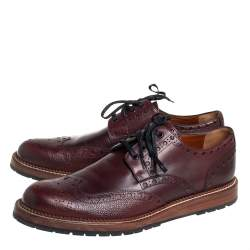 Louis Vuitton Burgundy Brogue Leather Lace Up Derby Size 43