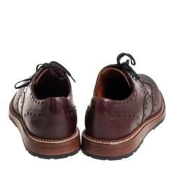 Louis Vuitton Burgundy Brogue Leather Lace Up Derby Size 43