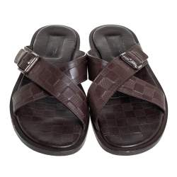 Louis Vuitton Brown Damier Leather Criss-Cross Flat Sandals Size 43