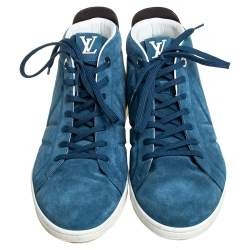 Louis Vuitton Blue/Black Suede And Leather Fuselage High Top Sneakers Size 43.5