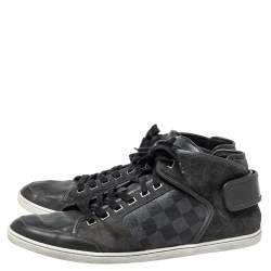Louis Vuitton Black Damier Graphite Canvas And Dark Grey Suede High Top Sneakers Size 44.5