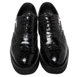 Louis Vuitton Black Brogue Leather Platform Derby Size 38.5