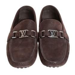 Louis Vuitton Brown Nubuck Leather Hockenheim Slip On Loafers Size 40
