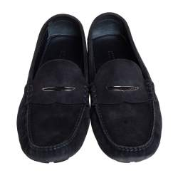 Louis Vuitton Navy Blue Damier Embossed Suede Penny Slip On Loafers Size 43