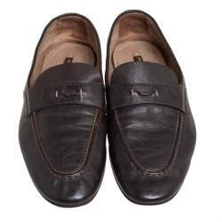 Louis Vuitton Brown Leather Slip On Loafers Size 42