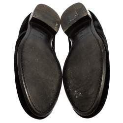 Louis Vuitton Black Velvet Logo Embroidered Slip On Loafers Size 42.5