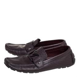 Louis Vuitton Burgundy Leather Monte Carlo Slip On Loafers Size 41