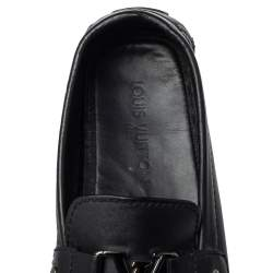Louis Vuitton Black Leather Monte Carlo Slip On Loafers Size 44