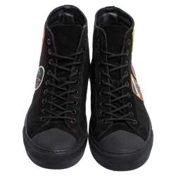 Louis Vuitton Black Suede and Canvas Tattoo Sneaker Boots Size 43
